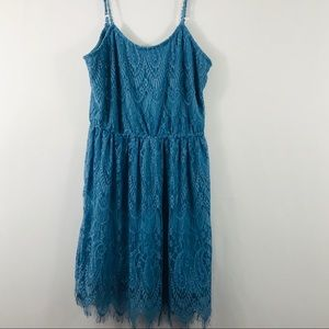 Blue sleeveless Large Lace Straps Midi